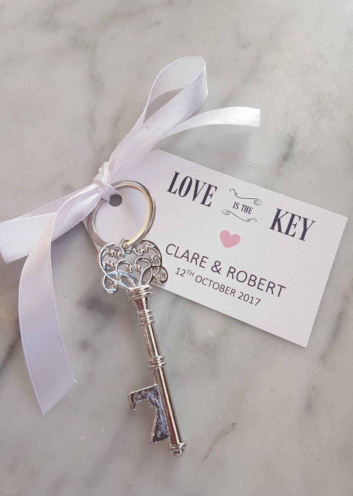 Wedding Favour 10 x Vintage Key Keyring Keepsake Beer Bottle