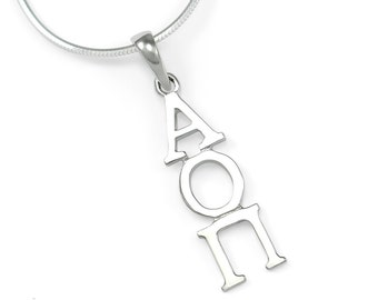 Alpha Omicron Pi Sterling Silver Lavaliere // ΑΟΠ // Sorority necklace // Gifts for Her // Sorority gifts // Big and Little // aoii // Greek