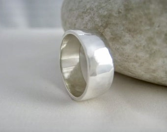 Sterling Silver Hammered Toe Ring 6mm Wide - Standard UK Ring Size H 1/2 (US-4) - Handmade By CMcB Jewellery UK
