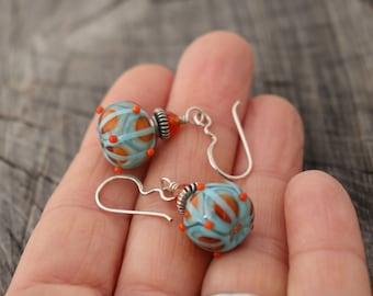 Orange Light Aqua Lampwork Carnelian Earrings
