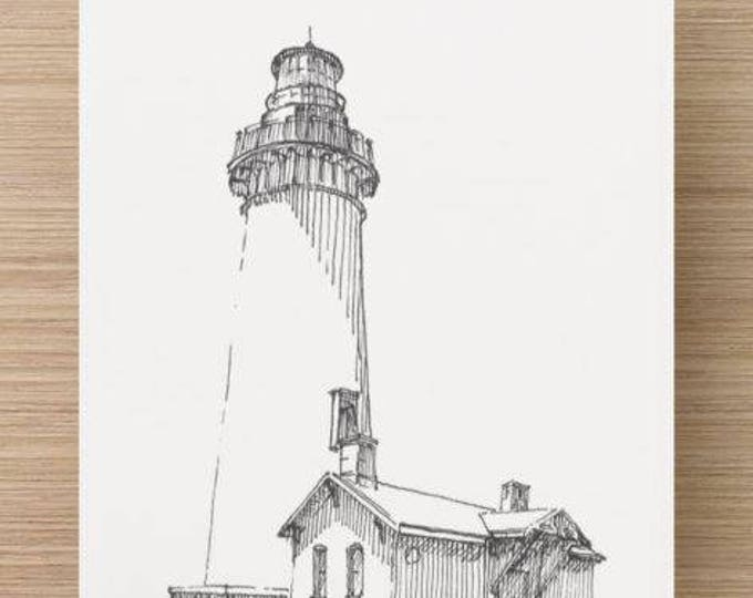 Ink Sketch of Yaquima Lighthouse in Newport, Oregon - Drawing, Art, Tower, Coast Guard, Pen and Ink, Architecture, 5x7, 8x10, Print