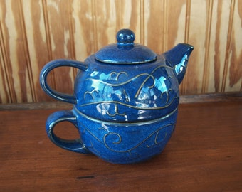 Dark Blue Pier 1 Stoneware Tea for One Personal Teapot with Tea Cup Stackable 3-Piece Set