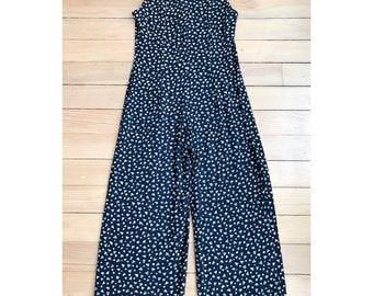 1980's Abstract Print Romper Navy, Tan Size Small