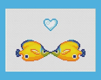 Kissing Fish Counted Cross Stitch Pattern in PDF for Instant Download