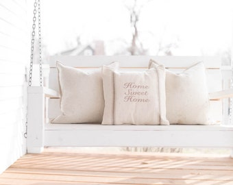 Home Sweet Home Grain Sack Pillow Cover, Available in Blue, Tan, Black, and Red