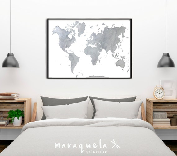 ORIGINAL World map GRAY with Silver highlights, in watercolor HANDMADE.
