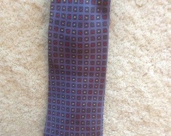 Bill Blass Vintage Blue Gray Necktie  /  70s Designer Silk Man Tie  /  Free Shipping USA  /  KnotMyTie