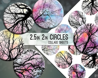 Tree Branches Digital Collage Sheet 2.5in and 2 Inch Circle Download Printable Images for Gift Tags Cards Scrapbooking JPG