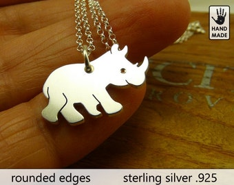 Rhino Handmade Sterling Silver .925 Necklace in a gift box