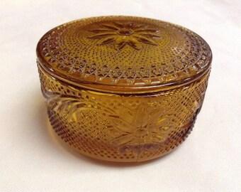 Tiara Indiana Glass Amber Sandwich Trinket Puff Powder Box & Covern lid Vanity set