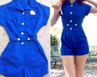1930s / 1940s shortsuit / bloomer / blue cotton moleskine playsuit shorts