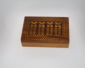 Big Vintage Wooden Jewelry Box Ornament wood box Pyrography Trinket Box Hand Tooled Handmade Box hand carved box inlaid Polish box Poland 70