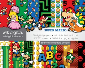 Mario Seamless Digital Paper and Clip Art Pack, Digital Scrapbooking, Instant Download