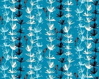 Seahorse Fabric | Teal | Ocean Fabric | Beach Decor | Sea Print | Blue | Cute Seahorse Print