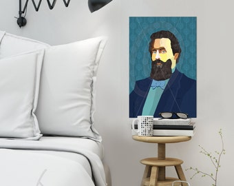 Herman Melville Portrait iconArt gallery Literature, personalized gift for book lover gift for women, for men, for Grandma, for Grandpa,