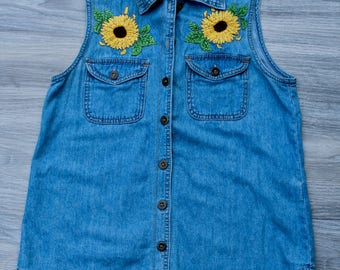 Hand Embroidered Sunflowers Denim Vest, Ladies Clothing, Upcycled Clothing