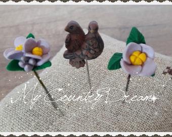 "Handmade Pins ""Birds & Flowers"""