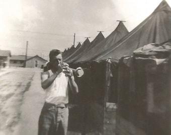 "Vintage Snapshot ""Making Music"" Handsome Man Trumpet Bugle Military Found Vernacular Photo"