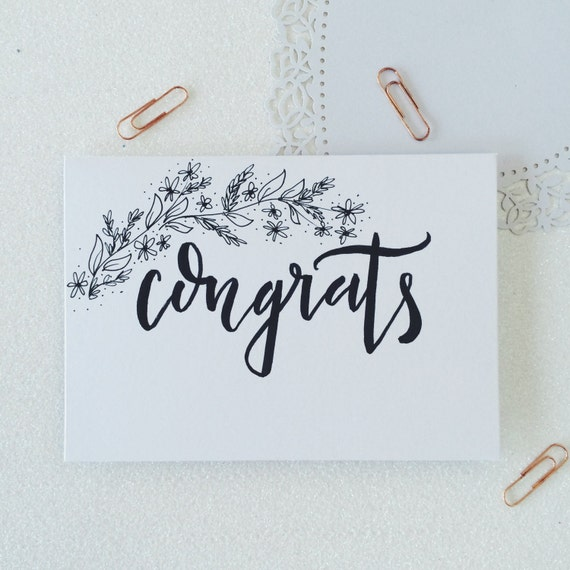 Congrats calligraphy greetings card hand illustrated