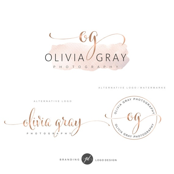 Wedding Branding Ideas: Watercolor Logo Design Rose Gold Branding Kit Photography