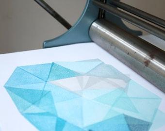 Iceberg II. original linocut monotype print by Paulina Vårregn, geometry illustration print ooak