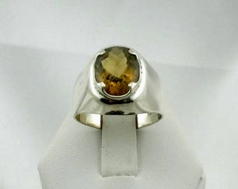Vintage Checkerboard Cut Citrine in a Sterling Silver Ring Hallmarked FREE SHIPPING! #RMY-SR7