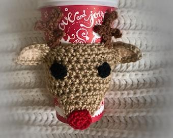 Rudolph Reindeer Coffee Cozy - Christmas Reindeer Coffee Cup Warmer