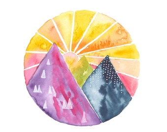 Sunrise Mountain Watercolor, Print, 8x10, 5x7, Sunshine, Yellow, Mountain Decor, Nature Art, Cheerful, Wall Art, Outdoors, Gift