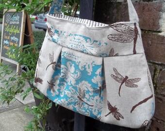 Dragonfly Purse  - Robins Egg Blue Print on Raw Linen - 3 Pockets - Key Fob