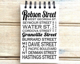 Vancouver B.C. - Love This Place - Street Name Notebook - Mixed Font - Busroll Notepad Journal Custom Gift - Canada