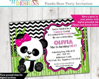 Panda Bear Invitation - Panda Invitation - Birthday Invitation - Custom - Printable