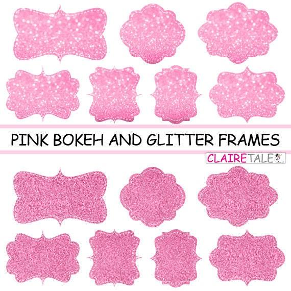 "Digital clipart labels: ""PINK  BOKEH & GLITTER frames"" bokeh and glitter clipart frames, labels, tags on pink background"