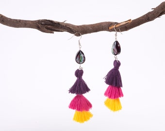 Boho tiered tassel earrings in purple fuchsia yellow