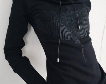 Long Sleeve Cotton Dress - Hoodie Dress - Sweatshirt Dress - Embroidered Dress - Knee Length Dress - Dress with hood - Women's Dress