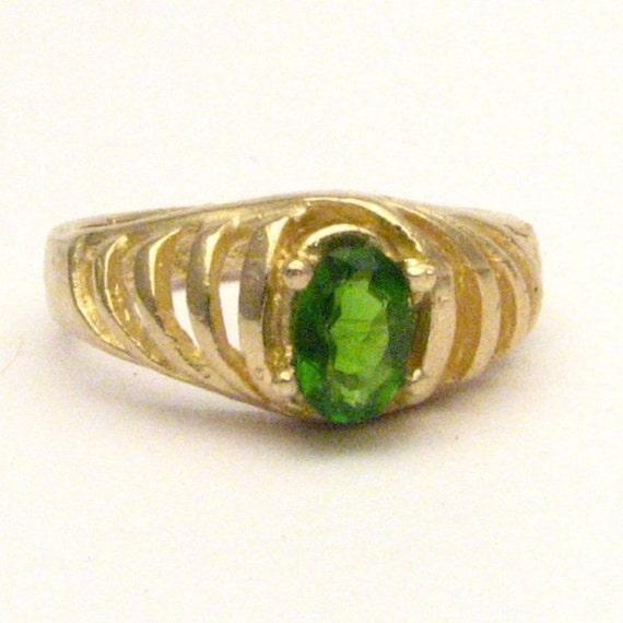 Handmade 14kt Gold Chrome Diopside Ring