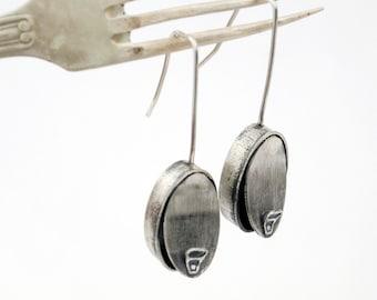 Sardines earrings, sterling silver earrings, Handcrafted jewelry, Oxidized silver, Long earrings