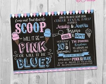 Ice Cream Gender Reveal Invitation, Ice Cream Gender Reveal Party Invitation, Printable What's the Scoop Gender Reveal Invite, Pink or Blue