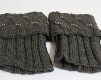 Gray rhinestone knitted boot cuff, knitted leg warmers,  Knit boot cuffs, Boot socks, Knit leg warmer