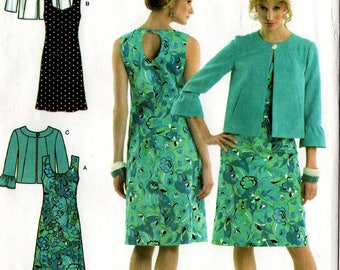 Uncut Misses' DRESS & JACKET PATTERN Simplicity #3781 Size 14-22 Sweetheart Round Neckline Variations 2 Lengths Unlined Easter Spring Sewing