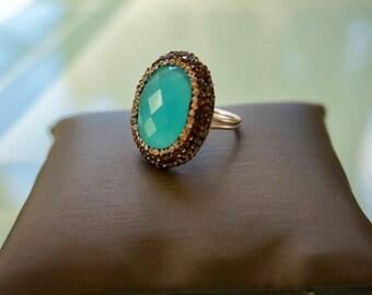 Chalcedony Gemstone Crystal Ring
