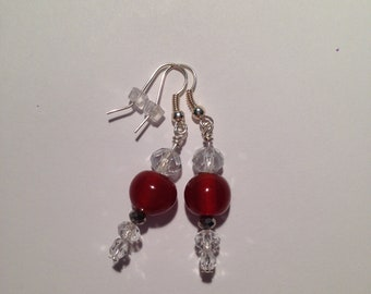Red Sparkly Hanging Dangle Earrings Handmade Holiday
