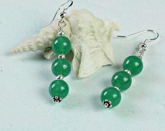 Jade Earrings Sterling Silver. Everyday Earrings. Green Stone Earrings. Gift for Mum. Jade Jewellery. Earring Gift Idea For Women. A0135