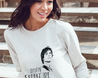 Vampires Diaries Sweatshirt - Damon Salvatore Sweatshirt #R