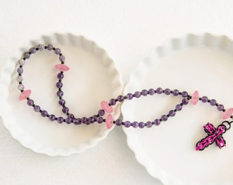 Rosary with Amethyst beads // chainmaille cross  pink magenta purple jasper  light pink glass beads