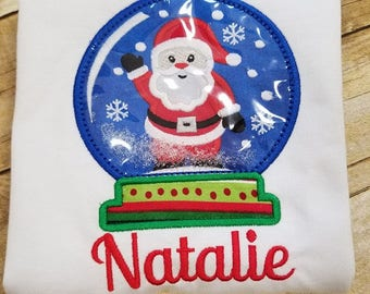 Santa Personalized Snow Globe Shirt, Christmas Shirt, Applique Shirt, Girl Christmas, Toddler Christmas, Holiday Clothing,