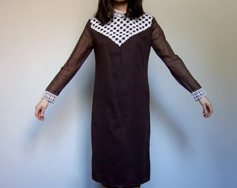 70s Cotton Dress Boho Ethnic Embroidered Brown White Sheer Long Sleeve Shift - Small. Medium. S/ M