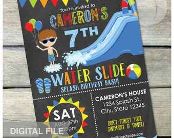 "Splash Water Slide Birthday Party Waterslide Bash Chalkboard Invitation Boy Blue - DIGITAL Printable Invite - 5"" x 7"""