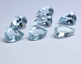 Natural Sky Blue Aquamarine Gemstones Lot , 6x8MM AAA+ Natural Aquamarine, AAA++ Top Quality Great Color, Pear Shape Faceted Loose Gemstone.