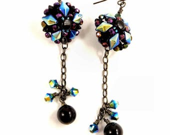 Dramatic Statement Black Onyx Earrings, Sparkling Crystal Party Jewelry