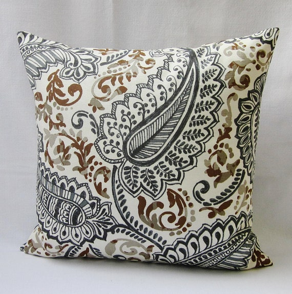 Brown Paisley Pillow Cover Gray Charcoal Decorative Throw